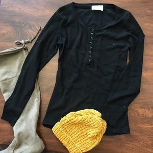 Henley waffle knit long sleeve tees tops